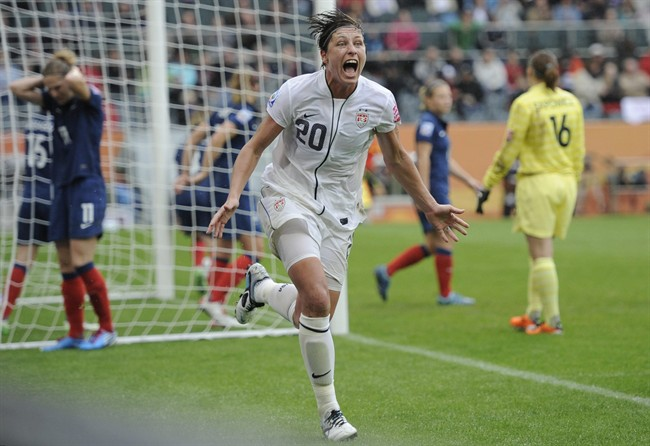 File photo - United States' Abby Wambach celebrates scoring her side's 2nd goal during the semifinal match between France and the United States at the Women's Soccer World Cup in Moenchengladbach, Germany, Wednesday, July 13, 2011.