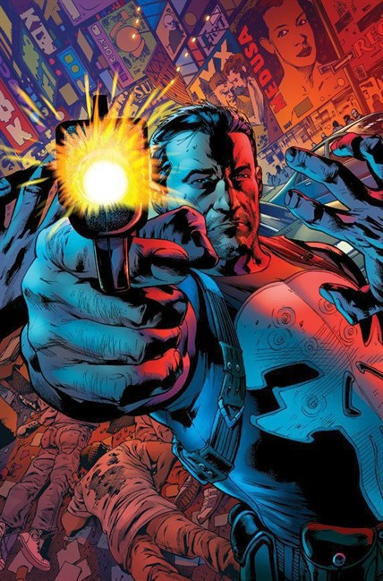 """In this comic book image released by Marvel Comics, the character Frank Castle, aka The Punisher, is shown. Readers of the upcoming """"Punisher,"""" will see the lead character dealing with a new type of criminal gang that is decidedly far more advanced socially and technologically than his traditional mob opponents. Writer Greg Rucka says the book will retain its traditional hard and brutal edge but with more super-villains to contend with, too. (AP Photo/Marvel Comics)."""