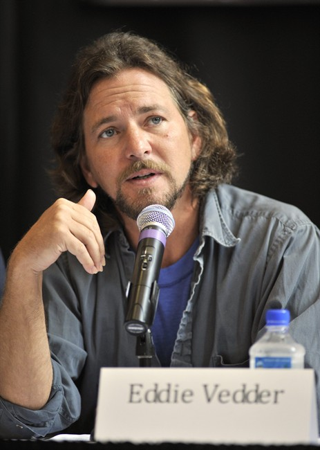 FILE - In this Aug. 28, 2010 file photo, singer Eddie Vedder of the band Pearl Jam participates in a news conference before the Voices for Justice concert in support of the West Memphis Three in Little Rock, Ark. Vedder and the rest of Pearl Jam have supported Damien Echols, Jessie Misskelley and Jason Baldwin, known as the West Memphis Three, who were convicted in 1993 for the murder of three 8-year-old boys in Arkansas. The men were recently released from prison in a legal maneuver that lets them maintain their innocence while acknowledging prosecutors have enough evidence against them. They will be on probation for the next 10 years . (AP Photo/Brian Chilson, file).