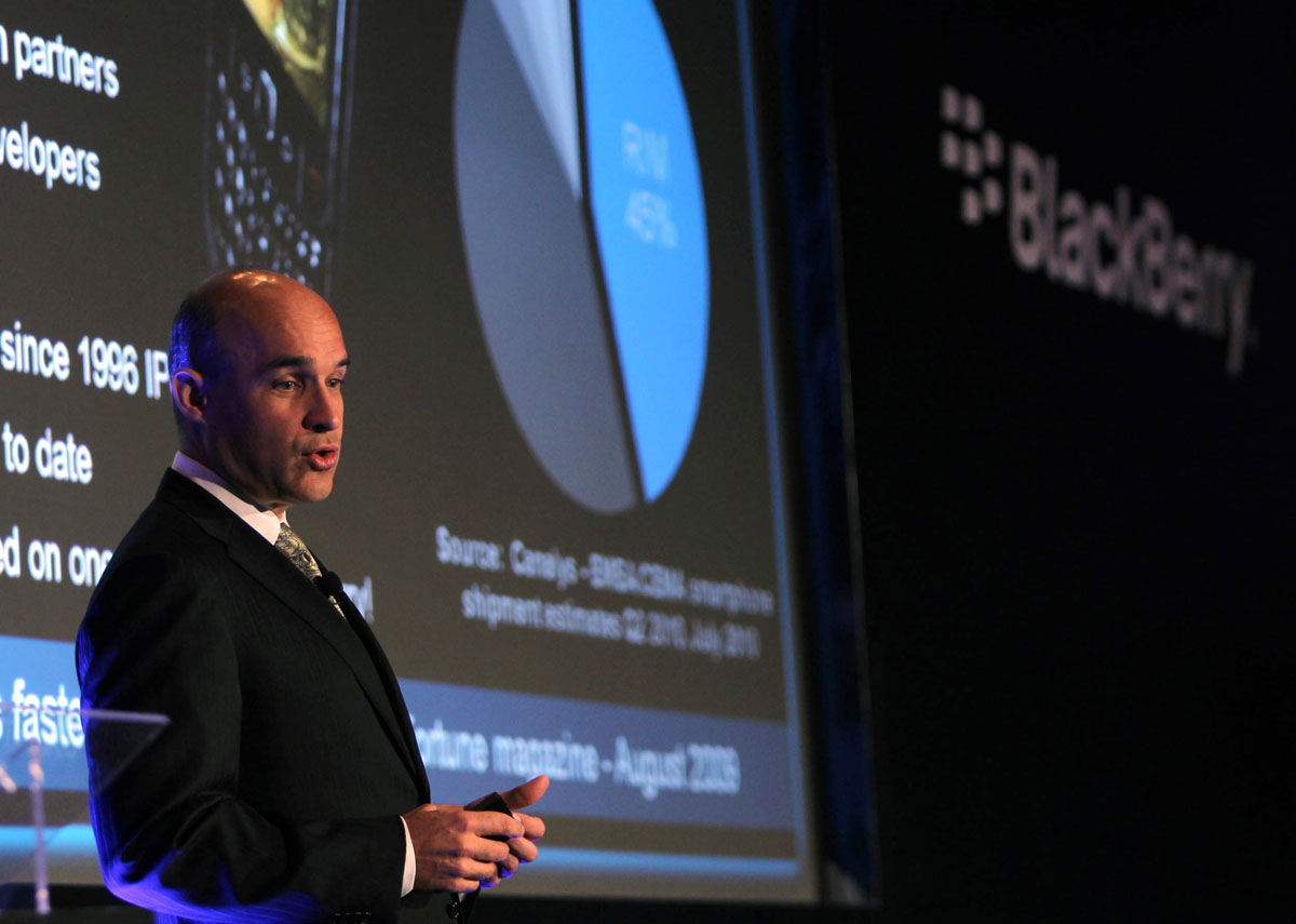 Jim Balsillie, the co-CEO of Research in Motion (RIM), gives a keynote speech at the annual GITEX technology show in Dubai on October 18, 2010.