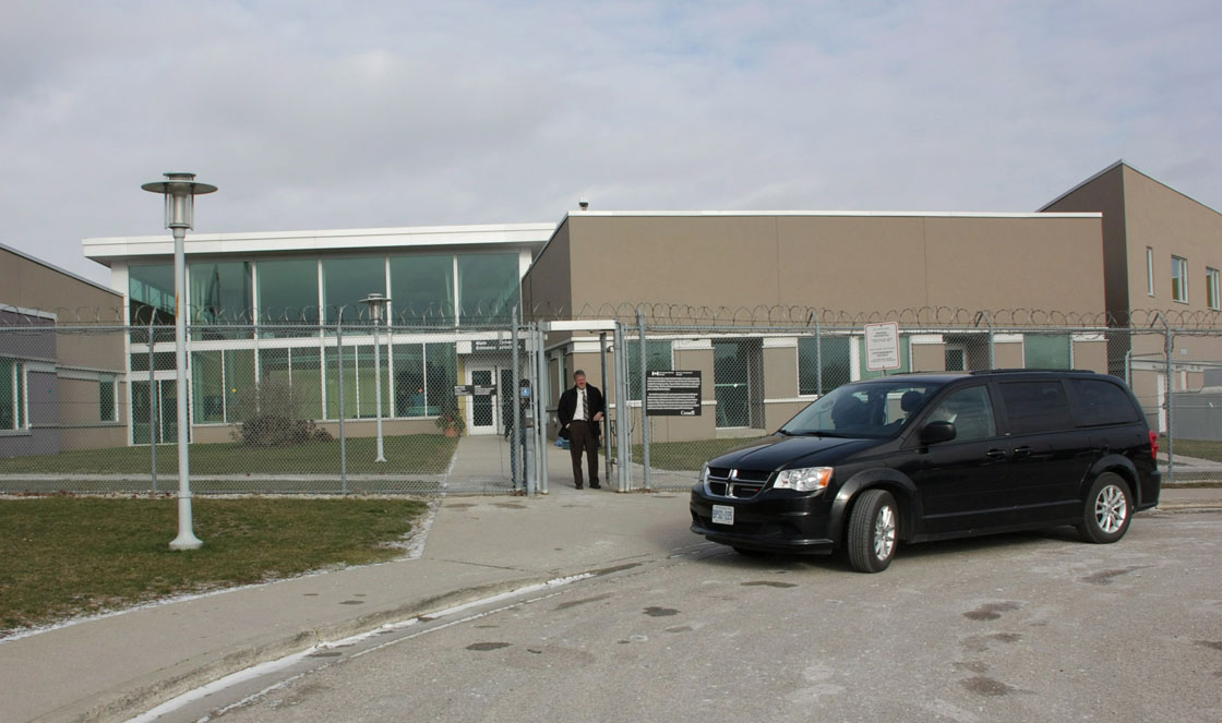 A van carrying jurors from the Ashley Smith inquest arrives at the Grand Valley Institution for Women in Kitchener, Ont., on Thursday, Jan. 17, 2013.