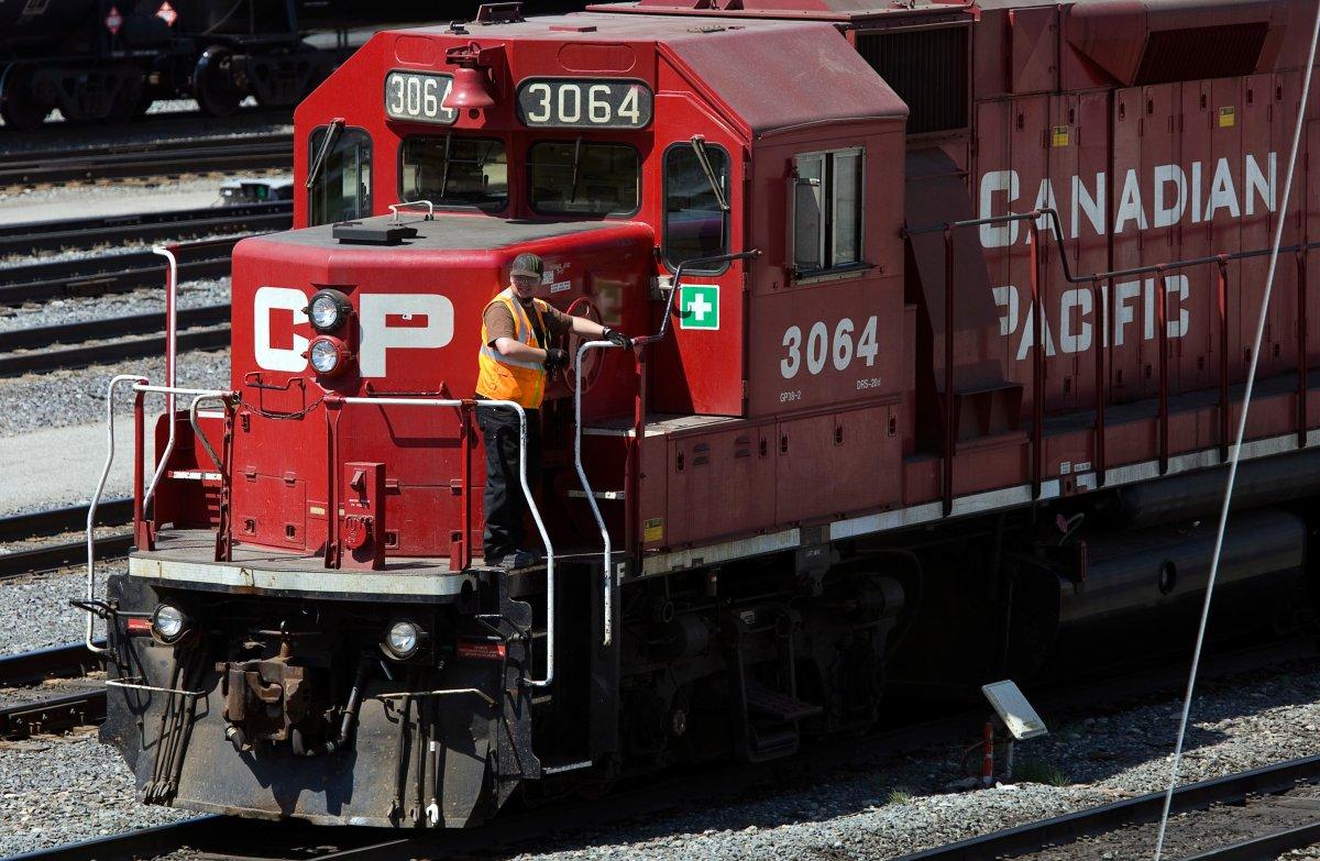 A CP Rail train travels down the tracks.