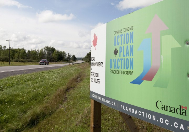 A government action plan sign is seen along the road near Mississippi Mills, Ont., Monday August 23, 2010.