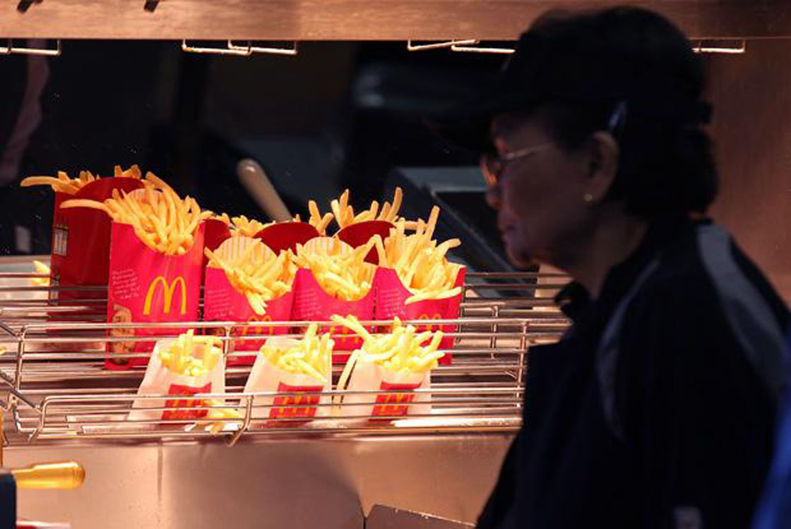 McDonald's french fries sit under a heat lamp during a one-day hiring event at a McDonald's restaurant on April 19;2011 in San Francisco;California.