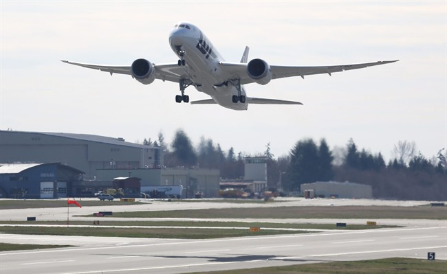 A Boeing 787 Dreamliner has landed at London International Airport for the first time.