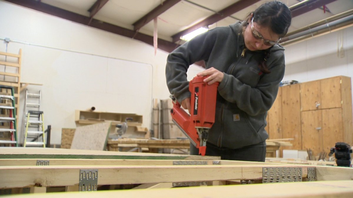 Sherry Flamont used to work in retail, but the second year carpentry apprentice at Construction Careers Regina, a branch of Saskatchewan Indian Institute of Technologies, knows construction pays better. And there's another reason she's chosen this career path.