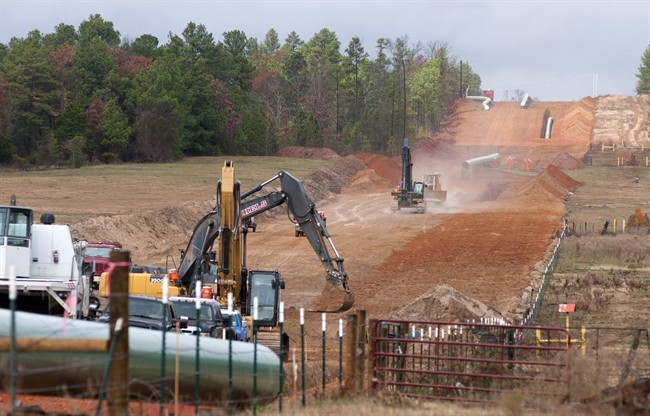 Crew work on construction of the TransCanada Keystone XL Pipeline east of Winona, Texas, on Dec. 3, 2012.