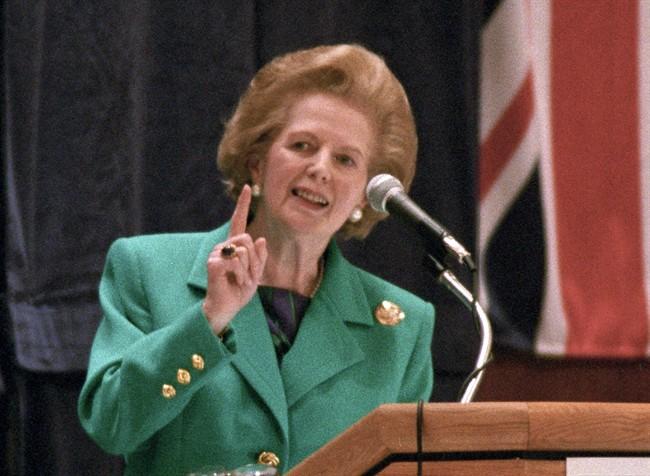 Former British prime minister Margaret Thatcher speaks in Toronto, Ont., Nov. 8, 1993. THE CANADIAN PRESS/Frank Gunn.