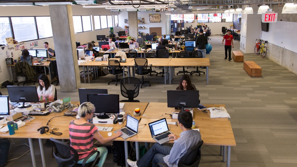 HootSuite employees in their Vancouver-based office.
