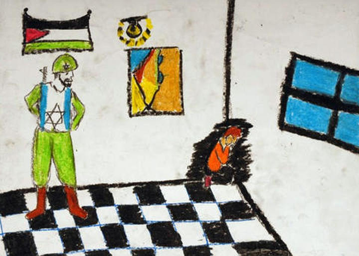 A piece in the Palestinian children's art exhibit, A Child's View from Gaza.