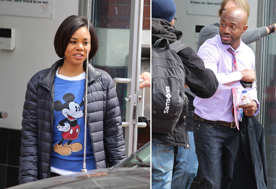 Regina Hall and Taye Diggs on the set of 'The Best Man Holiday.'.