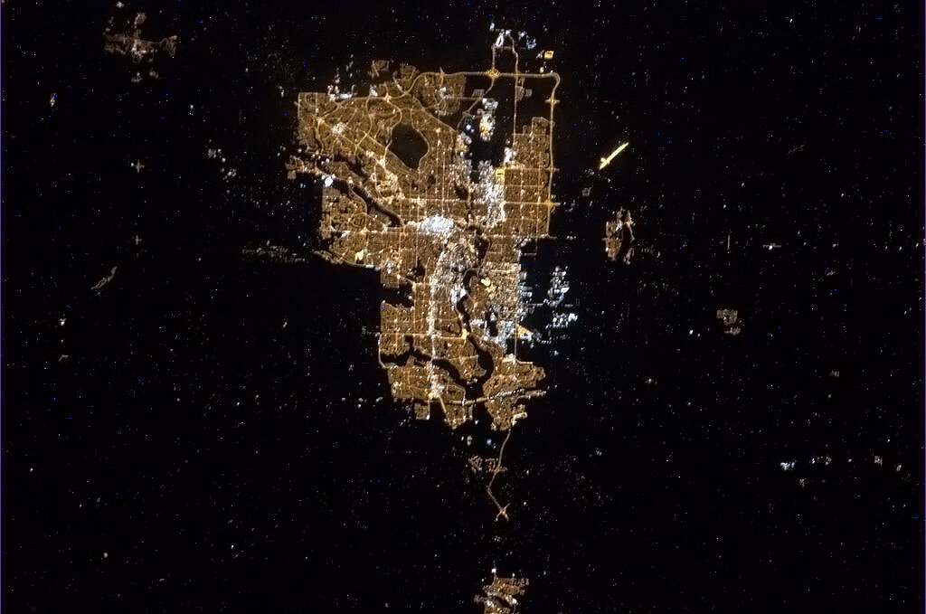 Picture of Calgary from space tweeted by Commander Chris Hadfield from the International Space Station.