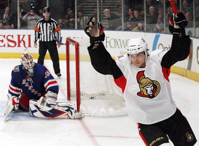 Ottawa Senators' Erik Karlsson celebrates after scoring in a shootout against the New York Rangers, in New York in this March 24, 2011 file photo.