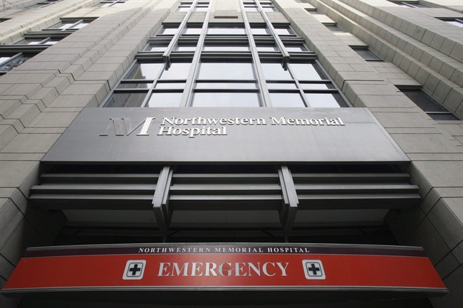 The emergency entrance at Northwestern Memorial Hospital in Chicago is seen in a Nov.16, 2007 file photo.