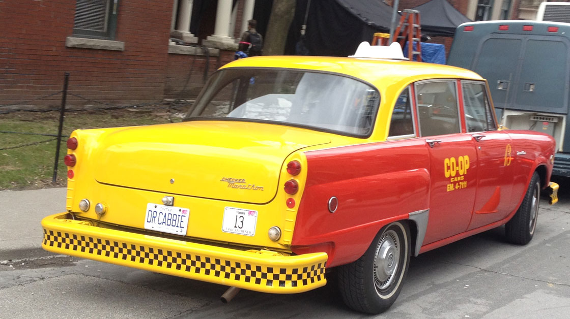 A vintage taxi on the set of 'Dr. CABBIE' in Toronto.