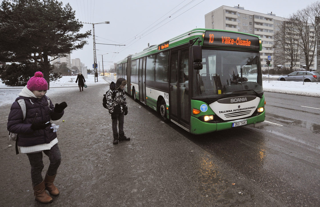 A bus drives on a street in Tallinn, on January 9, 2013. From January 1, 2013, residents of the Estonian capital can use public transports in Tallinn for free after purchasing a special card for 2 euros.