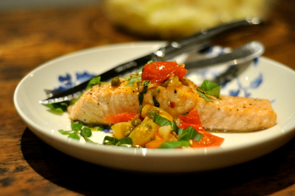 Even in the winter months, skillet-cooked cherry tomatoes make a sweet salsa for salmon.