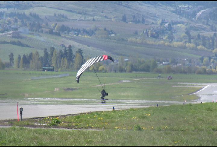 A flying car attempts a landing at the Kelowna International Airport Thursday morning.