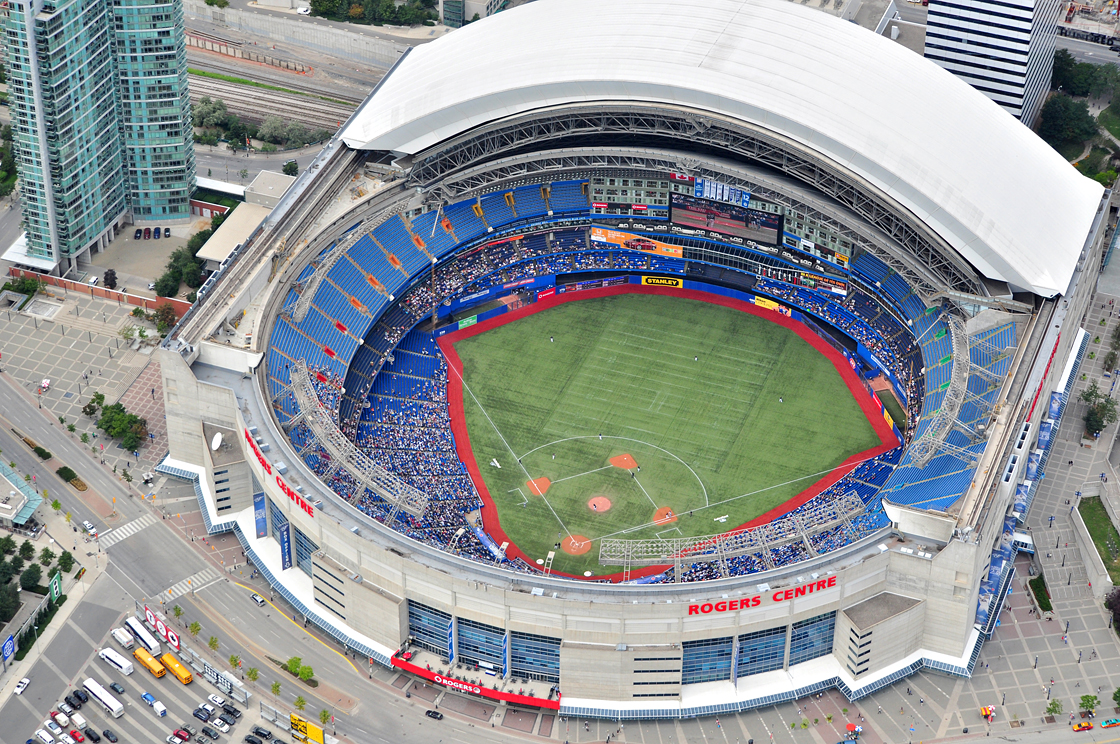 An aerial shot of the Rogers Centre
