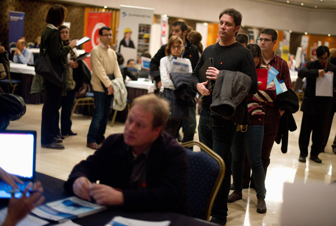 Statistics Canada says 54,500 jobs disappeared from the economy in March and the unemployment rate climbed two-tenths of a point to 7.2 per cent.