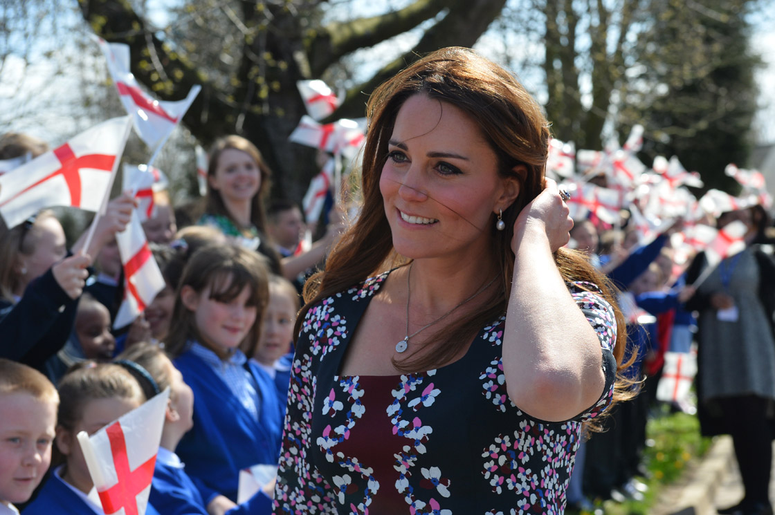 Catherine, Duchess of Cambridge arrives to visit The Willows Primary School, Wythenshawe to launch a new school counseling program on April 23, 2013.