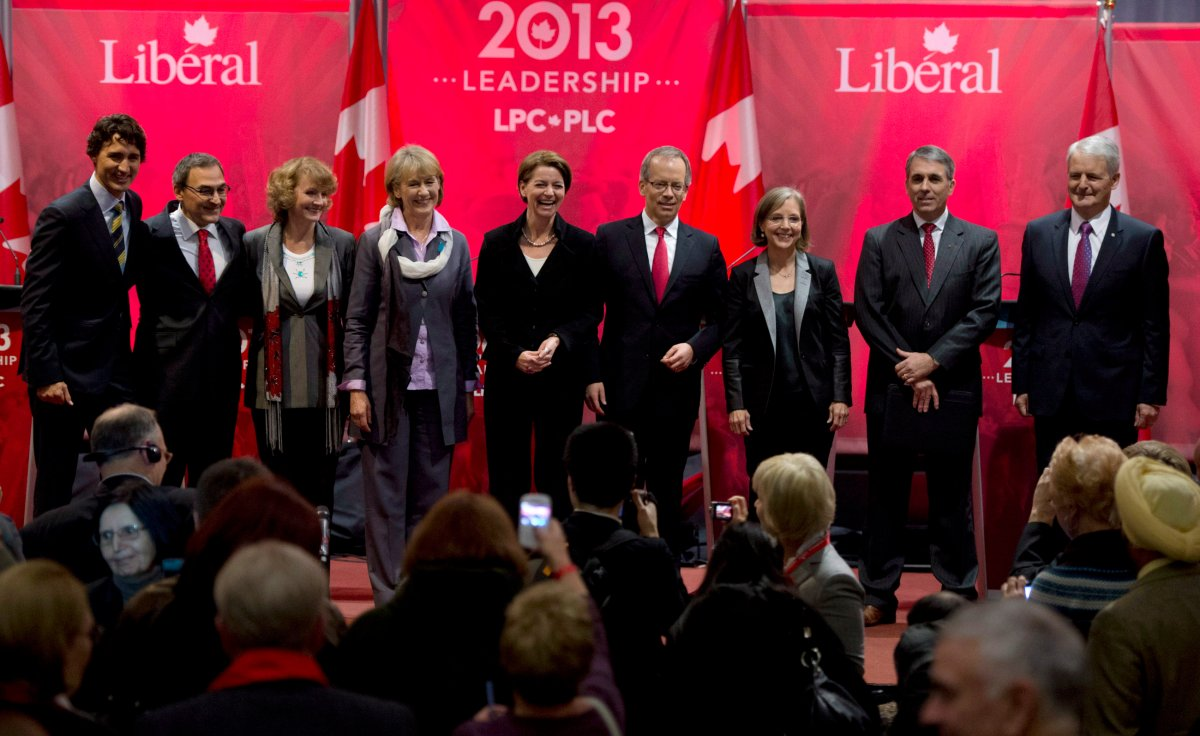 Federal Liberal Leadership candidates Justin Trudeau, left to right, Martin Cauchon, Karen McCrimmon, Joyce Murray, Martha Hall Findlay, George Takach, Deborah Coyne, David Bertschi and Marc Garneau.