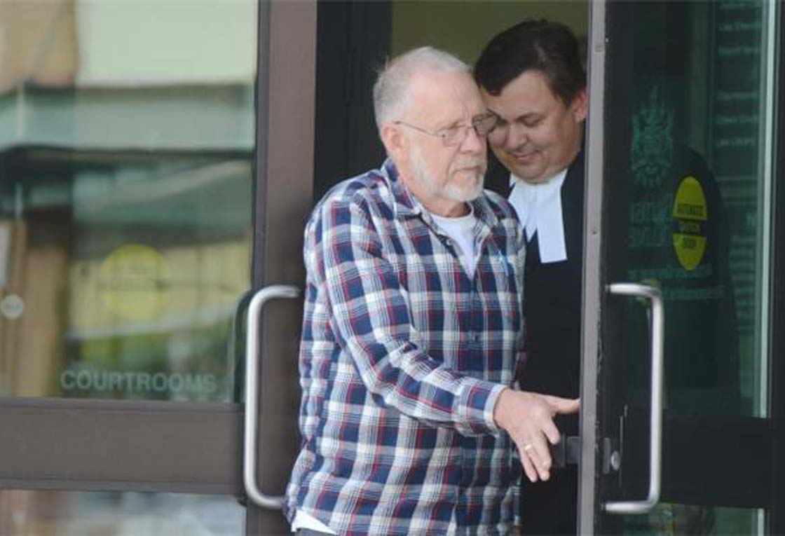 Mel Gerling leves the Chilliwack courthouse Monday, the first day of his trial.