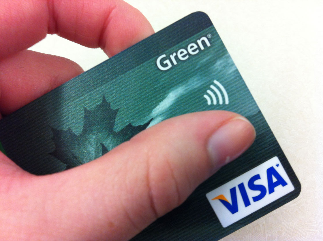 The RFID symbol shown on a credit card.