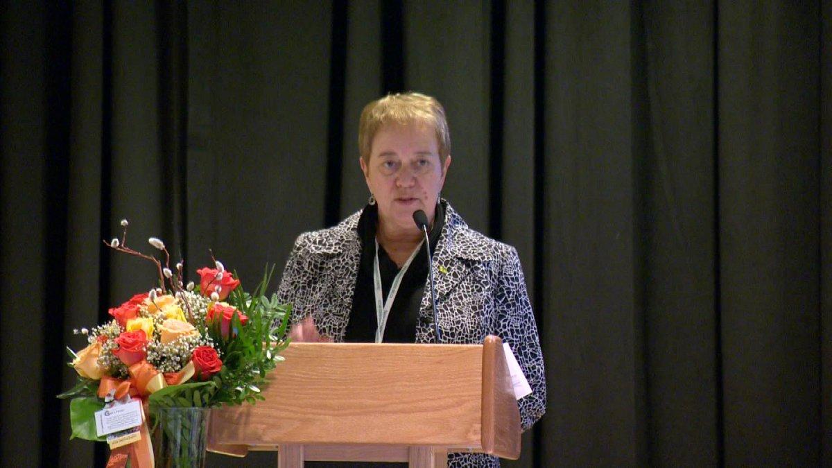 Saskatchewan Union of Nurses president Rosalee Longmoore addresses a crowd at SUN's Annual General Meeting on April 24,2013.