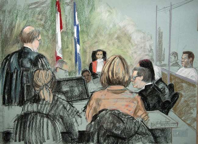 An artist's sketch of the courtoom in the Magnotta hearing in Montreal on Friday, April 12, 2013 into the death of Jun Lin.