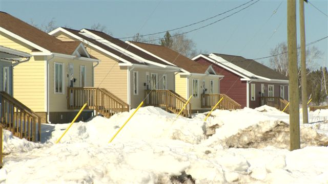 Empty homes at settlement near Gympsumville, Manitoba for flooded out residents of Lake St. Martin.