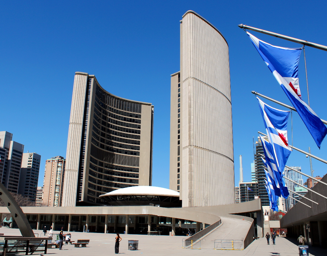 A general view of Toronto City Hall.