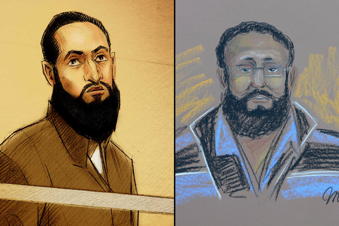 In this composite illustration, court sketches depict Toronto resident Raed Jaser (L)  and Montreal resident Chiheb Esseghaier (R).