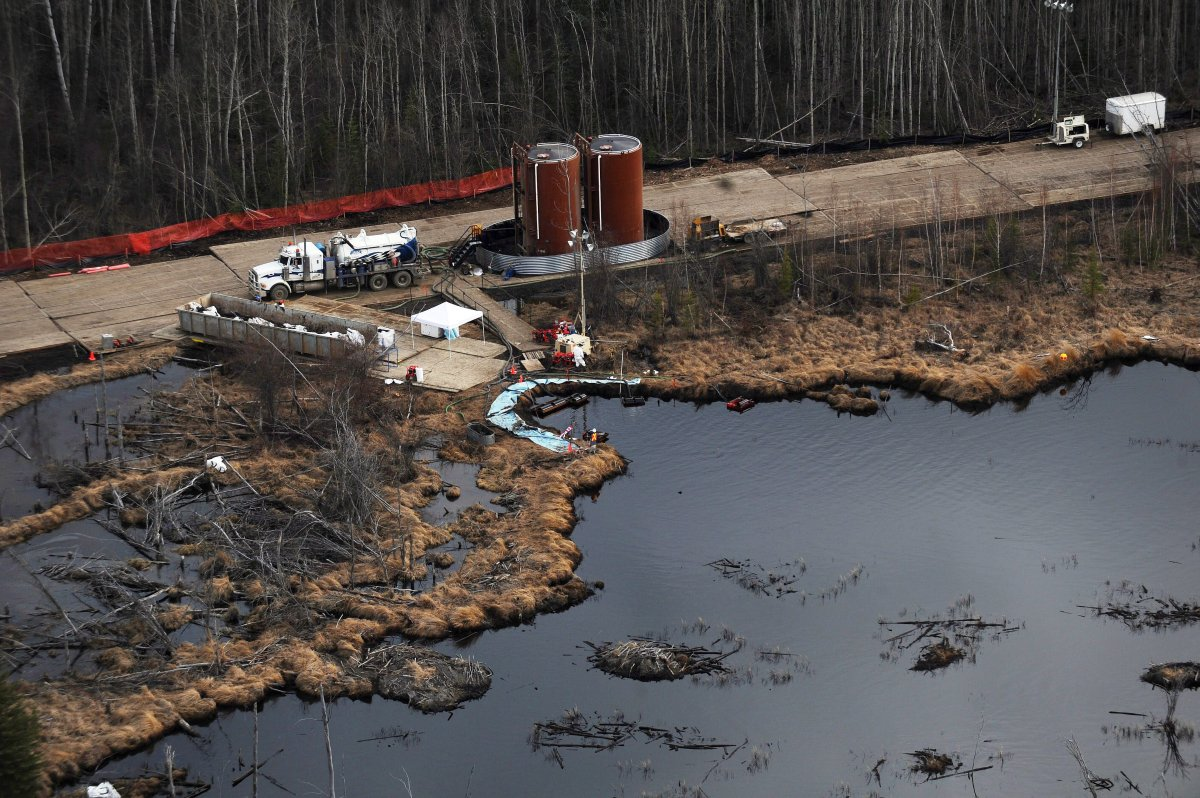 Aerial photos of the cleanup of a Plains Midstream pipeline break northeast of Peace River, Alta. on May 4, 2011.