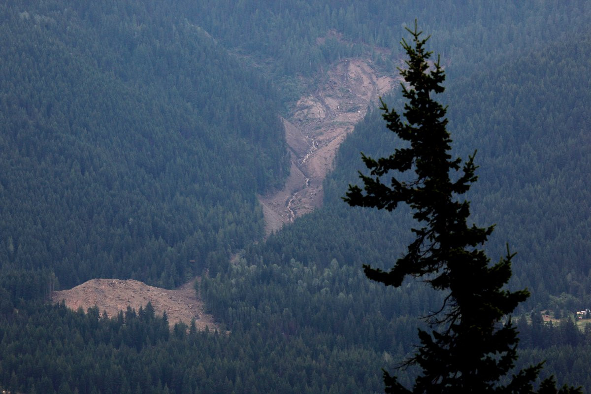 The swath of a landslide that buried three homes and has left four people unaccounted for in Johnsons Landing, B.C., is seen from across Kootenay Lake Saturday, July 14, 2012.THE CANADIAN PRESS/Jeff McIntosh.