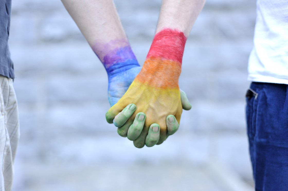 Two gay men holding their hands painted with the colors of the LGBT movement, photographed at Montreal on May 24, 2012.