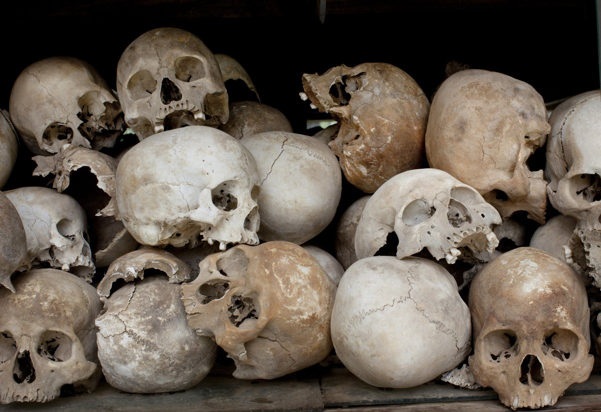 Some of the 8,000 human skulls sit in a glass case at the Choeung Ek Genocidal Center where July 26, 2010 in Phnom Penh province.