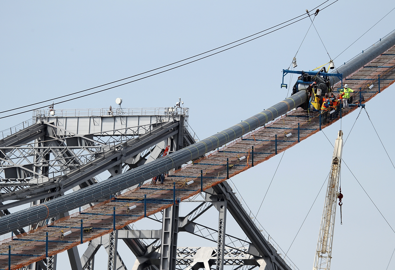 Construction on the San Francisco-Oakland Bay Bridge in May, 2012.