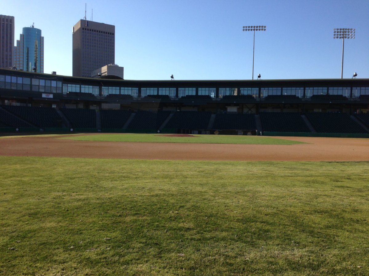Shaw Park aglow in the evening sun Friday. The weekend forecast is perfect for the start of Goldeyes training camp.