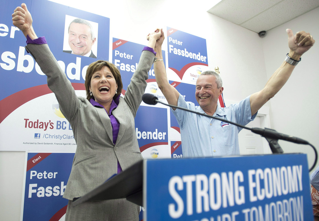 BC Liberal leader Christy Clark and Peter Fassbender in Surrey, B.C. Saturday, May 11, 2013.