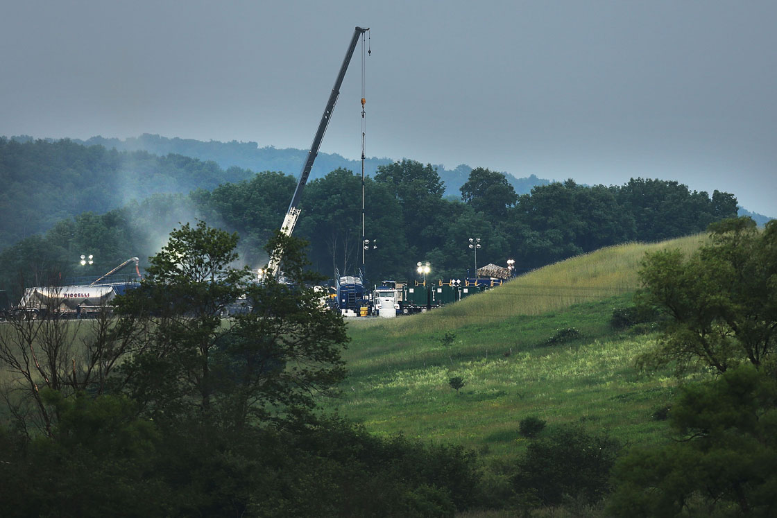 A hydraulic fracturing site is viewed on June 19, 2012 in South Montrose, Pennsylvania.