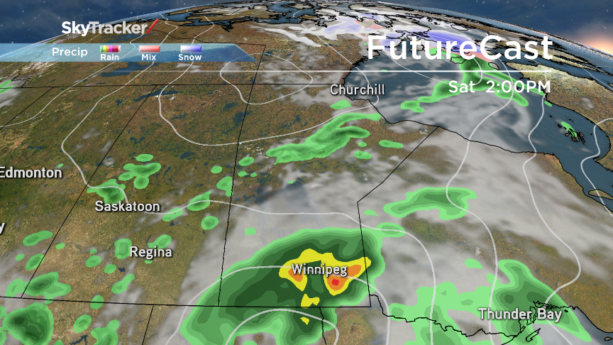 Heavy bands of rain and thunderstorms push into Southern Manitoba Saturday.
