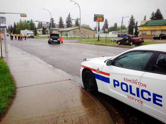 Police investigate a crash at 135 Ave and 127 St on Friday May 24, 2013.