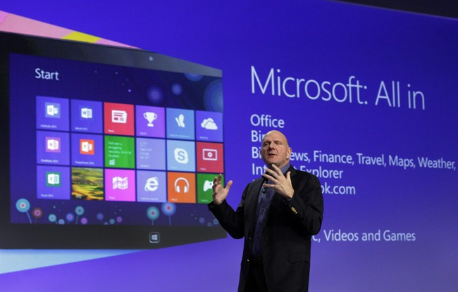 Microsoft CEO Steve Ballmer gives his presentation at the launch of Microsoft Windows 8, in New York, in this Oct. 25, 2012 file photo. Microsoft is retooling the latest version of its Windows operating system to address complaints and confusion that have been blamed for deepening a slump in personal computer sales. The tune up announced Tuesday May 7, 2013 won't be released to consumers and businesses until later this year.