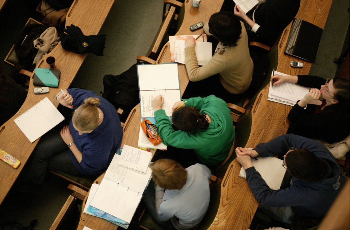 File photo of students in a school lecture hall.