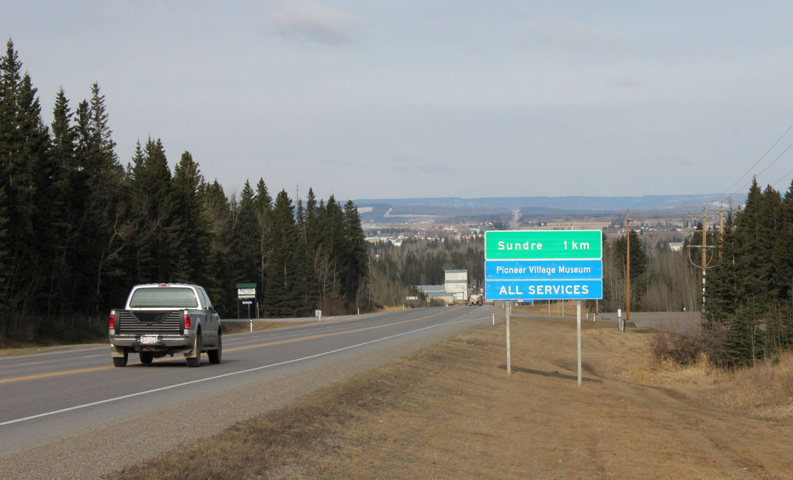 The highway leading into Sundre, Alberta.