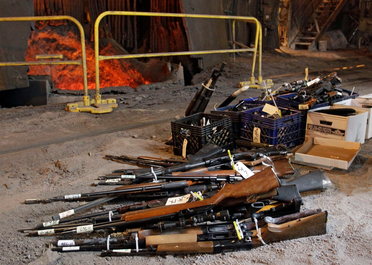 Firearms wait to be flung into a blast furnace and destroyed in Cleveland, Ohio in this 2011 file image. The end of the long gun registry means that more lost and stolen firearms are likely to be destroyed rather than traced to their owners, a veteran OPP firearms officer warns.