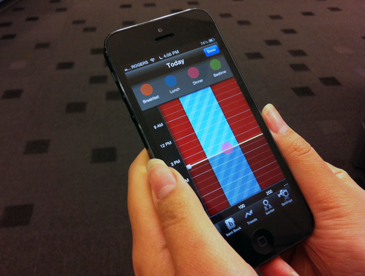 Apps like Bant (shown above), a free app under development by the University Health Network in Toronto, allow Type 1 diabetes patients monitor their blood sugar levels to help manage their condition.