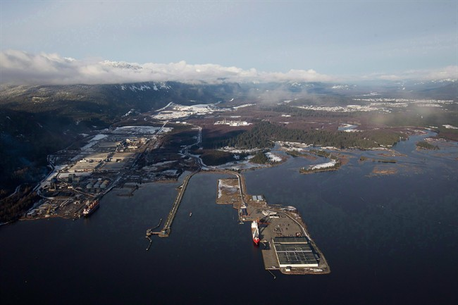 Douglas Channel is pictured in an aerial view in Kitimat, B.C., on January 10, 2012.