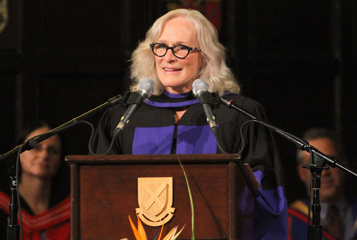 Glenn Close speaks after receiving an honorary degree of Doctor of Law from Queen's University on June 13.